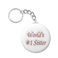 World's #1 Sister 3D Key Chains, Pink