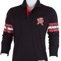 Maryland Terrapins Mens Collar Scholar Rugby (Black) / Polo