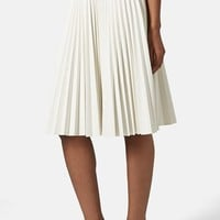 Women's Topshop Pleated Faux Leather Skirt,