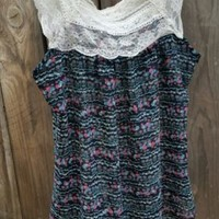 H.I.P. Happening In the Present Black Floral Sheer Sleeveless Lace Top Blouse S