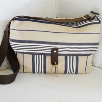 Blue and White Striped Canvas Messenger Bag   Single by ottobags