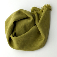 yellow green linen summer scarf  - long soft - green wrap shawl