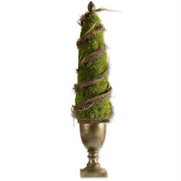 Topiary In Urn - Artificial Moss, Vines And Cascading Pheasant Feathers