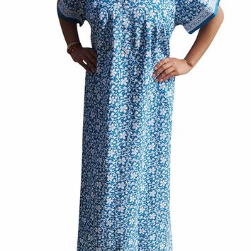 Mogul Interior Women's Annabella Cotton Sleepwear Soft Nightgown L (Blue,White): Amazon.ca: Clothing & Accessories
