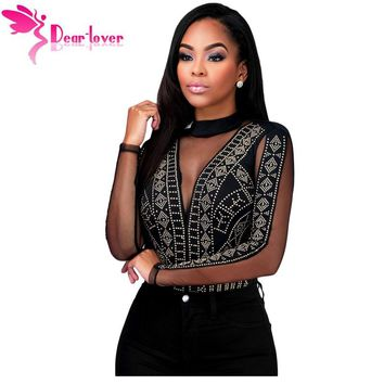 Dear-Lover playsuits romper tops Long Sleeve Women Enteritos Mujer Black Gold Studs Bodysuit Clubwear Combinaison Femme LC32062