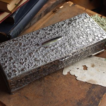 Long Rectangular Silver Jewelry Box - Ornate Scroll Pattern