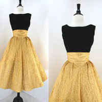 50s Dress Set Vintage Gold Lame' Full Skirt High Waist Quilted Junior Miss Label Black Velvet Top Metal Zips 1950s Dresses Skirts Tops 2 pc