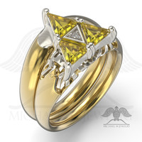 3 TRIANGLES BE MY ZELDA RING ENGAGEMENT AND WEDDING BAND SET – CUSTOM MADE – MADE TO ORDER – 111