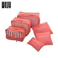 WEIJU 6Pcs/Set Travel Organizer Bag Cosmetic Bag Weekend Multifunction Travel Luggage Nylon Waterproof Bag Pouch
