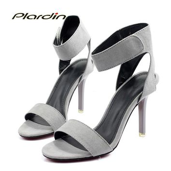 plardin 2018 Summer Sexy Fashion Shoes Woman Ankle Strap Retro Buckle Strap Women Party Wedding Thin High Heel Pumps