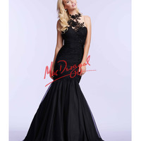 Black Mermaid Gown With Black Lace Applique