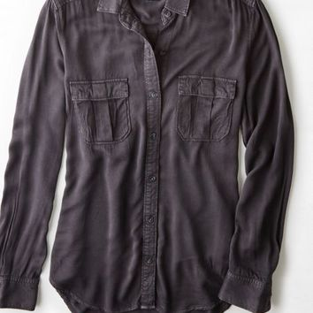 AEO 's Military Button Down Shirt (Washed Black)
