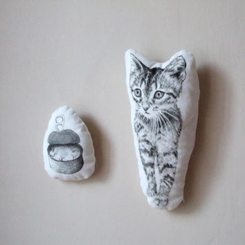 cat soft toy plush black and white hand drawn gift idea for pet lovers set of 2 modern room decor