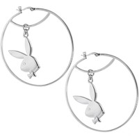 Officially Licensed PLAYBOY Silver Plated RABBIT HEAD Hoop Earrings