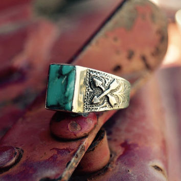 ON SALE Crossed Arrow Turquoise Ring