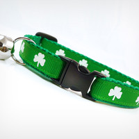 "Cat Collar - ""The Lucky One"" - Shamrocks on Clover Green"