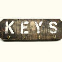 Distressed Wooden Key Rack with Four Brass Hooks - Keys Sign for Entryway - Rustic Wall Mounted Organization Sign - Handmade Wood Key Holder