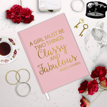 Chanel journal A girl must be two things classy and fabulous Coco Chanel Faux foil pink blush journal book gold gift wedding bridal shower
