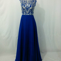Blue A Line Beaded Ruched Cap Sleeves Long Prom Dress