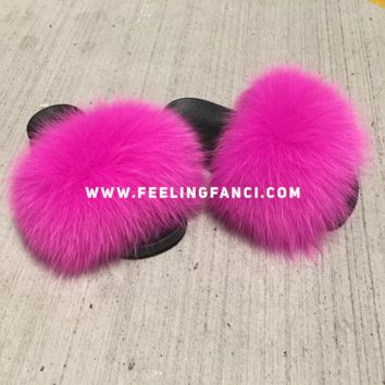 Hotty pink fox fur slides