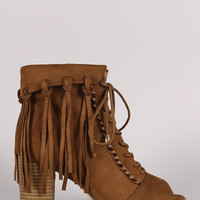 Suede Tassel Fringe Cuff Lace Up Chunky Heeled Booties