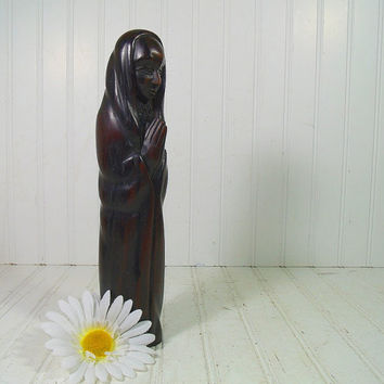 Vintage Solid Wood Praying Tribal Figure - Hand Carved Wooden Tall Madonna - Ethnic Native HandCrafted Religious Statue