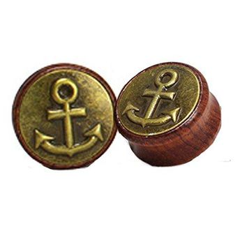 BodyJ4You Organic Solid Wood Anchor Double Flare Saddle Plugs 12mm-30mm (2 Pieces)