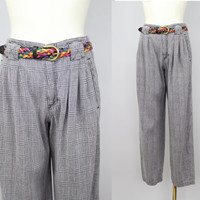 SALE - 80s/90s - Black & White Plaid - Pleated High Waist - Trouser Pants - Womens