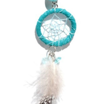 Dreamcatcher Feather Necklace Blue Beaded Silver Chain NL02 Native American Style Boho