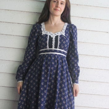 Blue Gunne Sax Dress 70s Vintage Floral Prairie XS 5 Country Hippie Boho