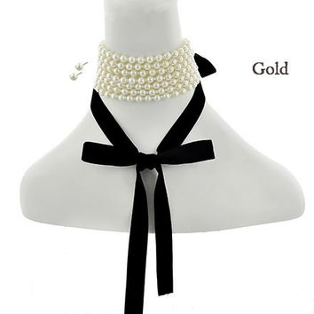 SALE! Celebrity Style Cream Pearl Black Ribbon Tie Choker Necklace & Earring Set