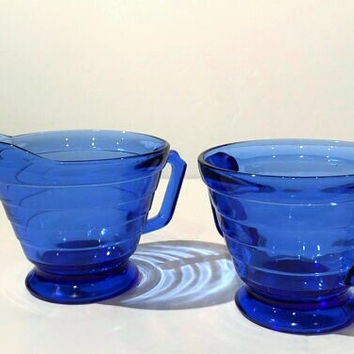 Cobalt Blue Moderntone Creamer and Sugar Set by Hazel Atlas, Moderntone Pattern Hazel Atlas Glass Sugar and Creamer, Cobalt Depression Glass