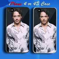 Robert Downey Jr Custom iPhone 4 or 4S Case Cover from namina