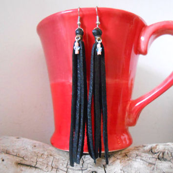 Leather Black Fringe Earrings with Swarovski Elements, Tassel Earrings, Handmade Leather Jewelry, Boho, Tribal, Hippie