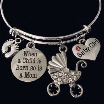 Baby Girl New Mom Jewelry Adjustable Bracelet When A Child is Born So is A Mom Silver Expandable Charm Bangle One Size Fits All Gift Baby Feet
