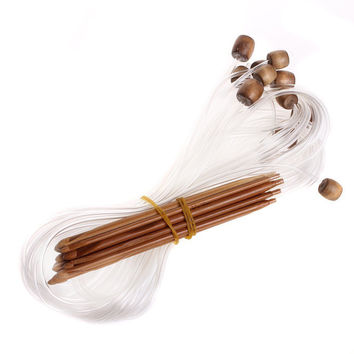 12Sizes 1.2m Afghan Tunisian Carbonized Bamboo Needle Crochet Hooks Weaving Needles Knit Needles Set