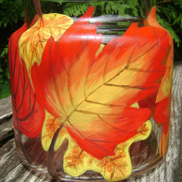 Fall Leaves Candle Holder hand painted upcycled glass red yellow orange brown
