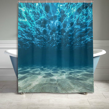 Ocean Sea Underwater Polyester Fabric Shower Curtain Bathroom Sets Home Decor 60 X 72 Inches Blue
