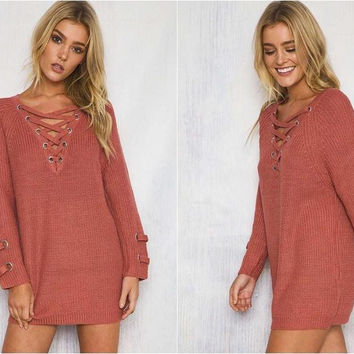 ♡  Lace up knitted sweater Loose pullover ♡
