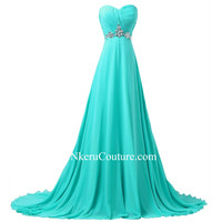 Turquoise Long Bridesmaid Dresses 2016  A-line Sweetheart Women Beaded Formal Wedding Party Gowns QW44