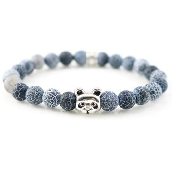 "New Hot Sale Silver Plated Panda Charm Bracelets & Bangles Stones Beads for Men Women Fashion Jewelry ""Lucky"" Stamp"