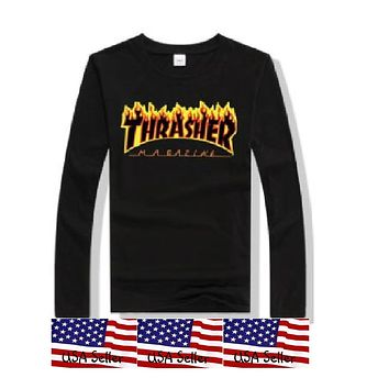 Thrasher Long Sleeve T Shirt Magazine Skateboarding Tee Logo Flame Black