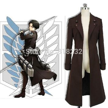 Cool Attack on Titan /no  Levi Ackerman Wind Coat Jacket Outwear Uniform Outfit Anime Cosplay Costumes AT_90_11