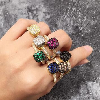 SLJELY Luxury Brand 7 Colors Cubic Zirconia Stones Honeycomb Design Square Rings Women CZ Finger Ring Fashion Party Jewelry