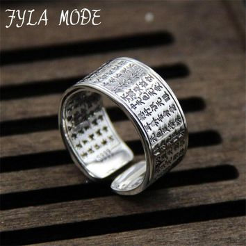 FYLA MODE Simple Heart Sutra Personalized Letters Ring 100% S999 Sterling Silver Ring For Men Women Christmas Gift Fine Jewelry