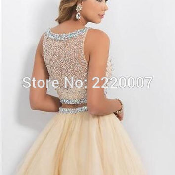 Two Pieces Homecoming Dresses 2015 Short Prom Dresses Champagne Beaded Sweet 16 Dresses Sheer Beach