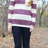 Sweater with Sequined Pocket - Wine