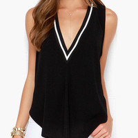 Black Deep V-Neck Sleeveless Long Back Top