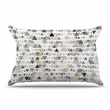 "Angelo Cerantola ""Triangulation "" Geometric White Pillow Case"