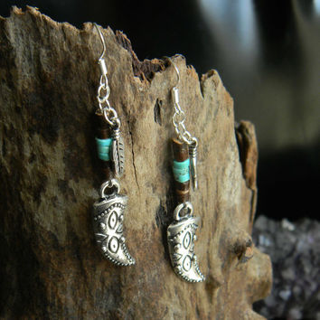 Carved Tooth Tibetan Silver Tribal Earrings